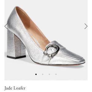 COACH Slip On; Jade Loafer; Metallic Leather Upper